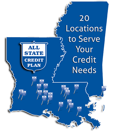 All-State Credit Plan, LLC Louisiana / Mississippi Locations Map